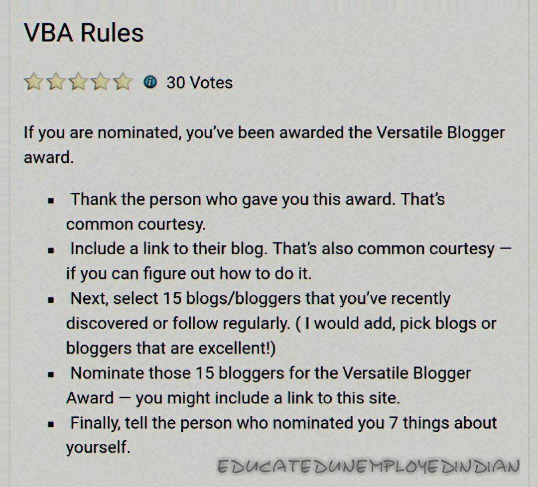 Versatile Blogger Award Rules