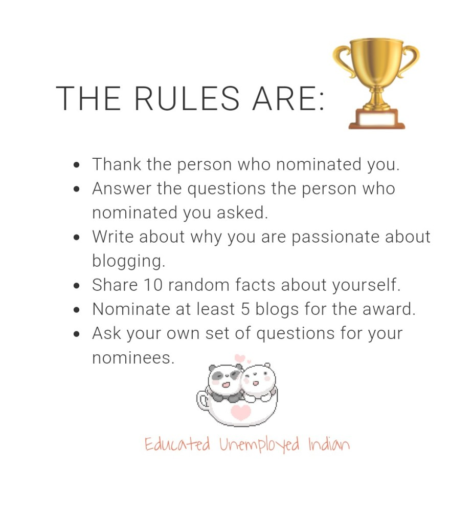 Rules of the Liebster award