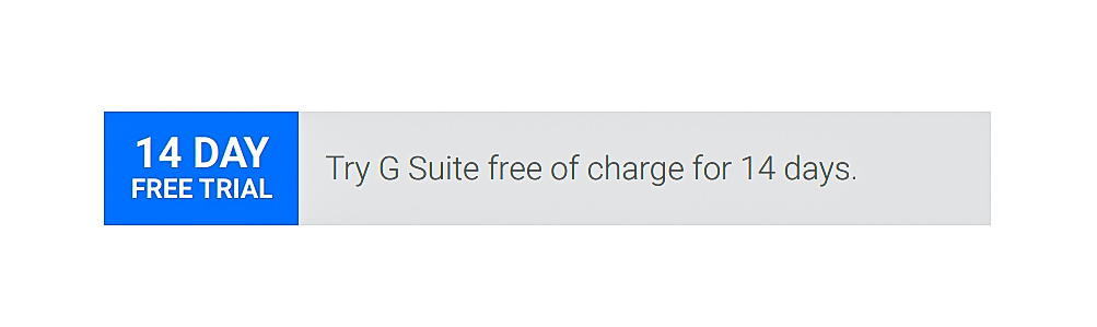 Free trial, G Suite pricing