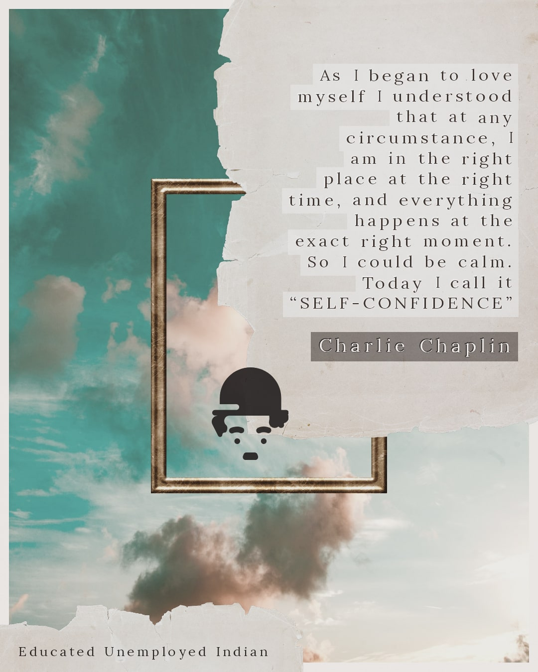Charlie Chaplin Quote on Self Confidence-min